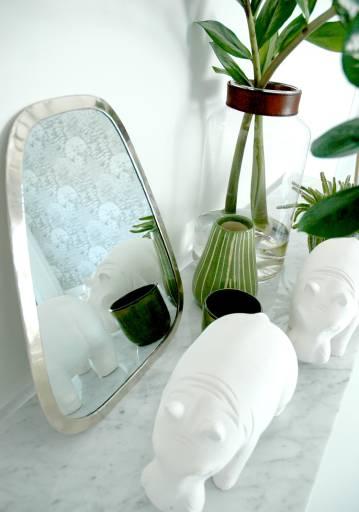 Décoration unique hippopotame, miroir, objets design