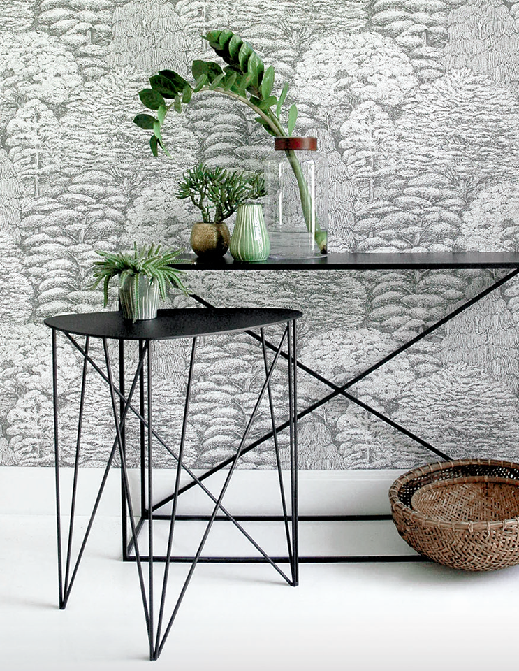 Occasional Table with black metal legs and a customisable mat black metal top
