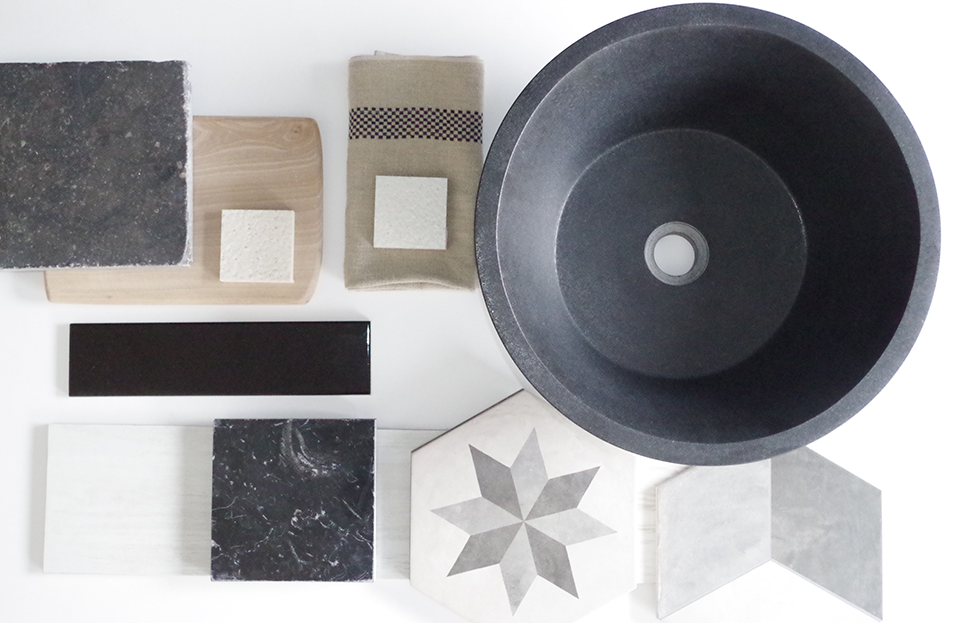 Mélange de matériaux mood board marbre blanc