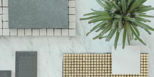 SANSONE Mélange de matériaux mood board marbre blanc