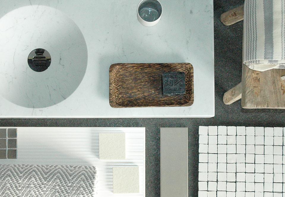 Mélange de matériaux mood board SANSONE marbre blanc