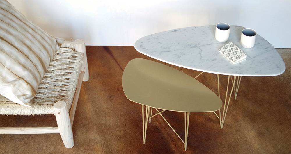 Ateliers SANSONE Created 3 Coffee table set with gold-plated feet, Carrara white marble and gold-plate top.