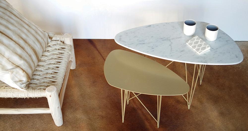 Tables d'appoint Marbre blanc doré - Ateliers SANSONE - Mouvaux