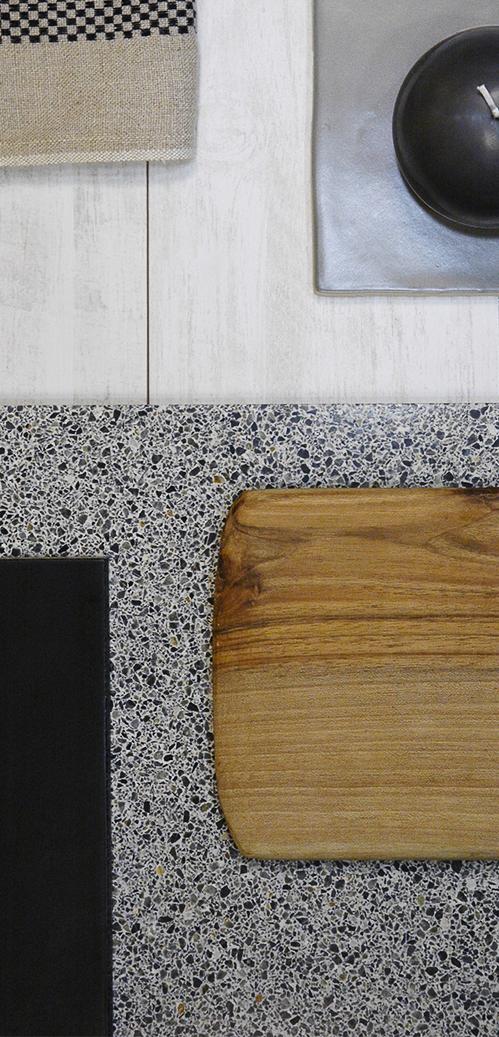 Mélange de matière bois granito aux Ateliers Sansone, tendance du granito