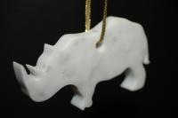 Rhinoceros en marbre blanc de carrare